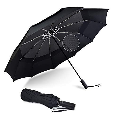 Lejorain Golf Umbrella with Windproof-Net - Full Automatic Folding Golf Size and 210T Waterproof Coated - Upgrade Anti-Rebound Design Umbrella Easy to Carry - 10 Ribs