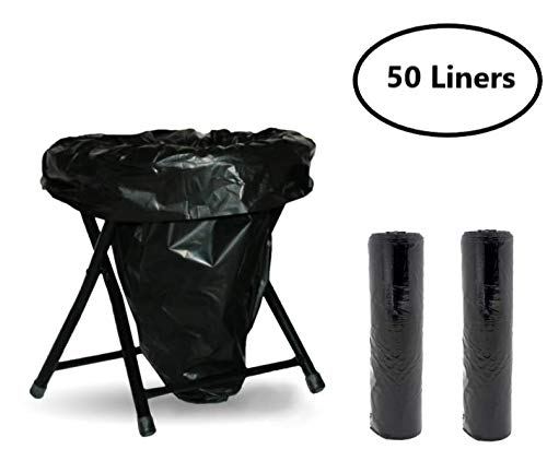 Trail Essentials Toilet Liners; Hygienic, Leak-Proof, Odor Free, Compatible with Camping Commodes and Portable Toilets, Black Opaque Color– Roll of Liners in Convenient Carry Case (50 Liners)