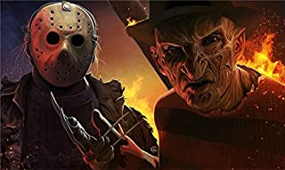 Lihuaiart Halloween Freddy Krueger Vs Michael Myers Vs Jason Voorhees,Artwork Wall Art Home Wall Decorations for Bedroom Living Room Oil Paintings Canvas Prints-1015 (Unframed,16x27inch)