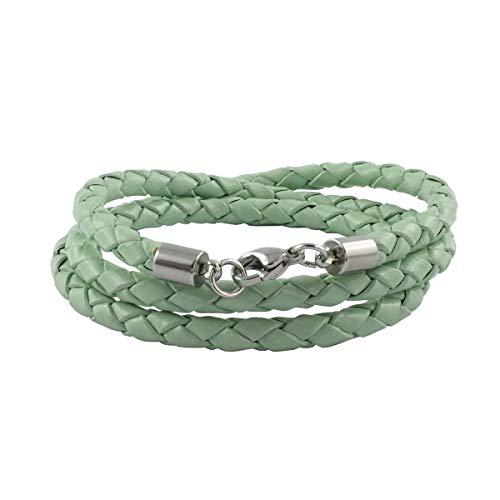 König Design Lederkette Lederband Leder-Armband 3 mm Herren Halskette Mint-Grün 45 cm lang mit Karabinerverschluss geflochten