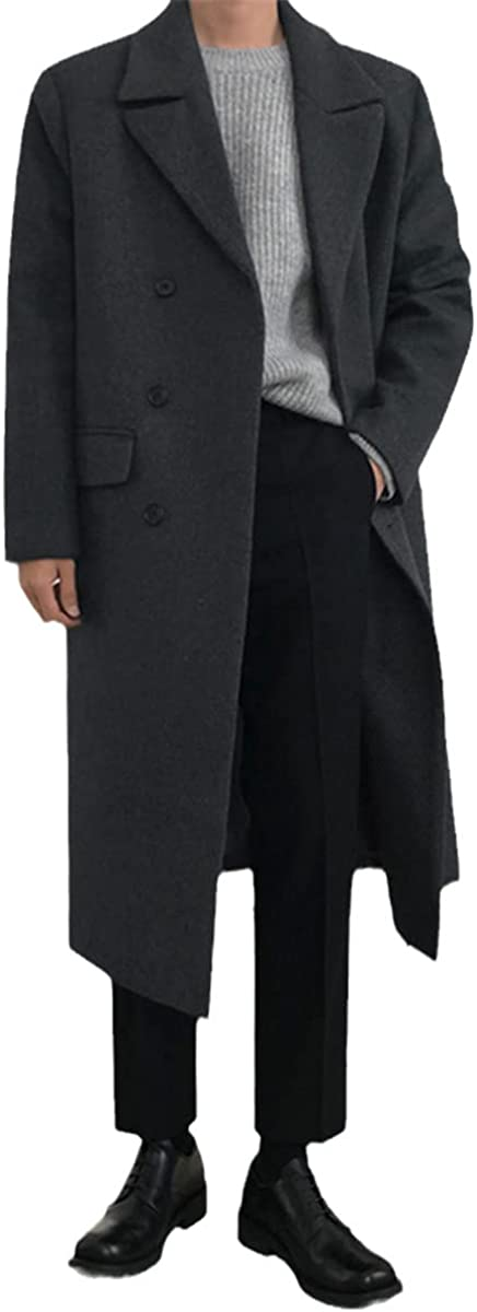 Woolen Coat Men's Korean Style Fashion Over-The-Knee Mid-Length Autumn And Winter Thick Loose Coat