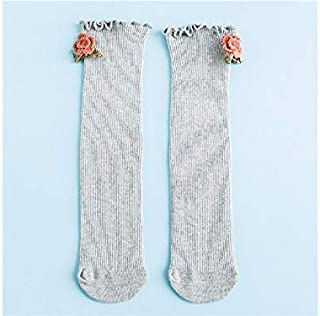 Lovely Socks Children Cotton Socks Kids Spring and Autumn Little Flowers Dolls Anti-Slip Mid Tube Socks (Yellow) Newborn Sock (Color : Grey)