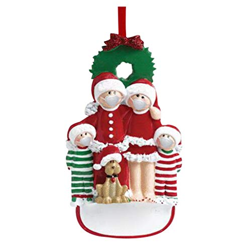 Sinerixc 2020 Quarantine Survivor Family Christmas Hanging Ornament, Family of 4 with Dog, Christmas Tree Decorations Home Decor DIY Personalized Xmas Gifts for Family Members Friends (1PC)