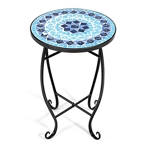 Giantex Outdoor Side Table, Mosaic Patio Table, 14inch Accent Table Plant Stand Decor, Small Outdoor End Table Porch Beach with Cobalt Glass Top Metal Frame for Patio Garden Balcony Poolside (Blue)