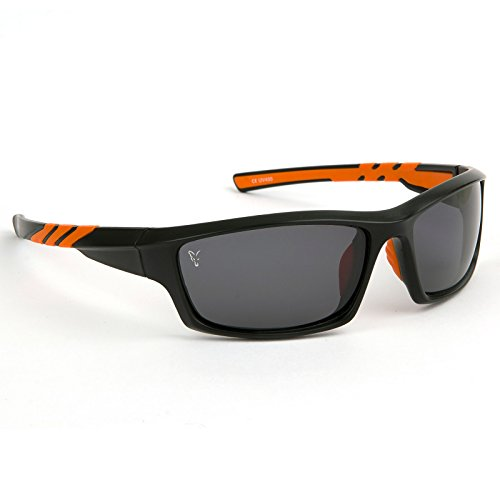 Fox Sunglasses Black Orange wraps grey lense - Polbrille zum Waller & Karpfenangeln, Polarisationsbrille zum Angeln, Angelbrille
