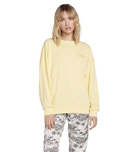 Volcom Damen Dartical Crew Sweatshirt, Faded Yellow, S