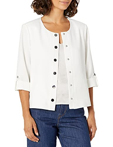 Kasper Women's ROLL TAB Collarless Jacket with SNAP Front, Lily White, Extra Large