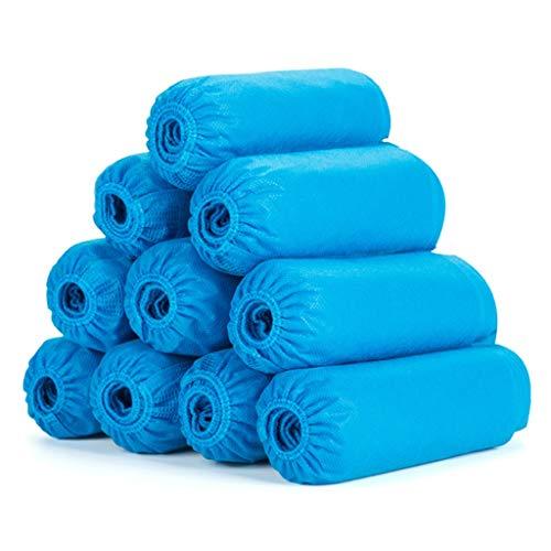 Amxba overschoen wegwerpoverschoen bescherming - waterdicht - reliëf vloer tapijt protectors - verpakking met 100 stuks blauw