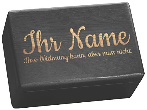 LAUBLUST Große Holzkiste - Personalisiert mit Individueller Wunsch-Gravur - 30x20x14cm, Schwarz, FSC® - Geschenk-Kiste | Aufbewahrungskiste | Erinnerungs-Box