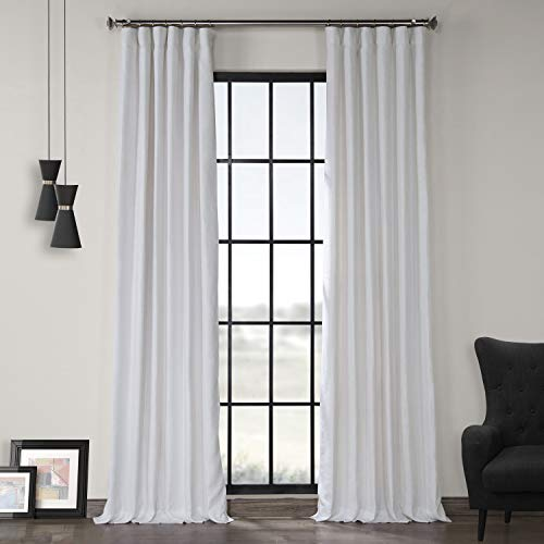 HPD Half Price Drapes LN-XS1704-96 French Linen Curtain (1 Panel), 50 X 96, Crisp White