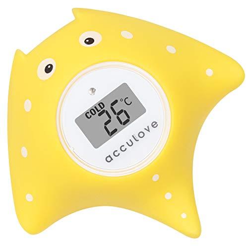 Baño de bebé y termómetro de habitación Acculove, termómetro de baño flotante para bañera y piscina, Cartoon Fish de Yellow Fish, juguetes seguros para bebés, recién nacidos, bebés y niños