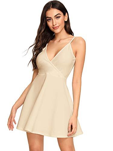 SheIn Women's V Neck Adjustable Spaghetti Straps Sleeveless Sexy Backless Dress