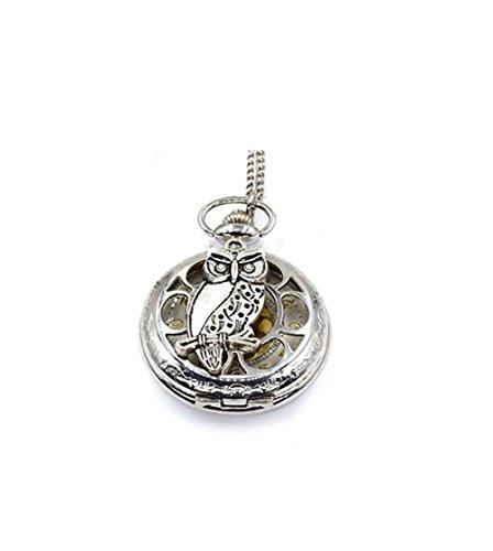 Collar de reloj de bolsillo con diseño de búhos de estilo vintage
