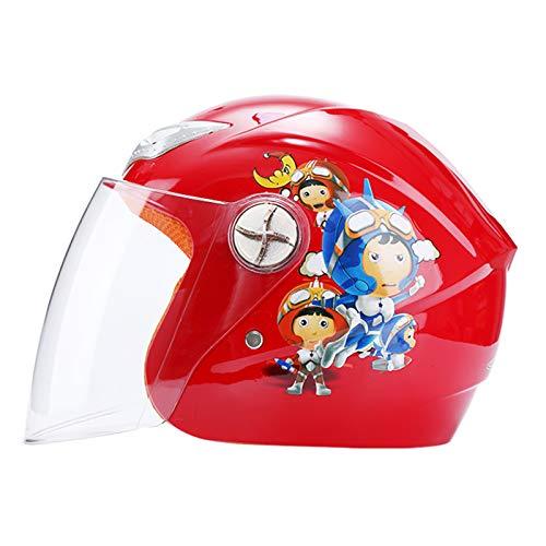 MHCYKJ Casco Infantil, Motocicleta Casco Abierto Casco Scooter Caballero clásico Bicicleta Dual Lente/Sun Visor Glossy, Casco Lindo para Personajes de Dibujos Animados,Rojo