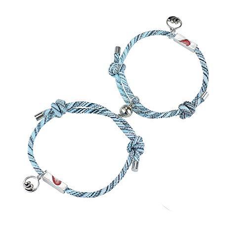 YADOCA Conjunto de Pulsera Magnética de Pareja Pulsera con Colgantes Trenzados de Cuerda de Atracción Mutua Juego de Joyas de Regalo para Mujeres y Hombres para Parejas…
