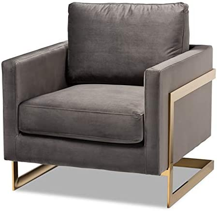 BOWERY Now on sale HILL Velvet Fabric with Gold Finish Accent Chair in Soldering Gray
