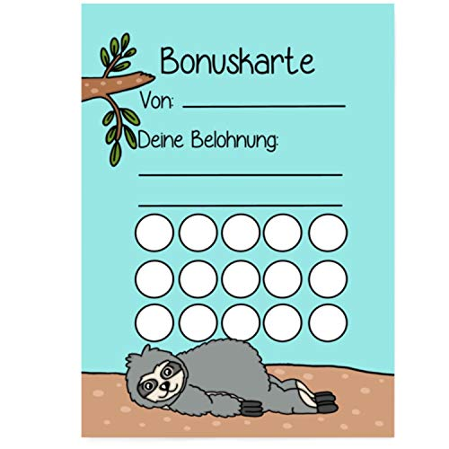 5X Bonuskarten Faultier DIN A6 Belohnungssystem Kinder für Jungen Mädchen Punkte sammeln Belohnungstafel Fleißkärtchen Fleißkarte Töpfchentraining Hausaufgaben Hausarbeit Stempelkarte Punktekarte