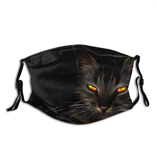Face Cover Black Cat, Dark, Cat Yellow Eyes, Whiskers, Darkness, Kitten Balaclava Reusable Windproof Anti-Dust Mouth Bandanas Outdoor Camping Motorcycle Running Neck Gaiter with 2 Filters