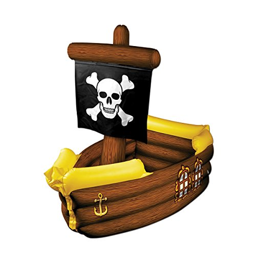 Beistle 39' Giant Inflatable Brown and Yellow Pirate Ship with Crossbone Flag Decorative Party Drink Cooler