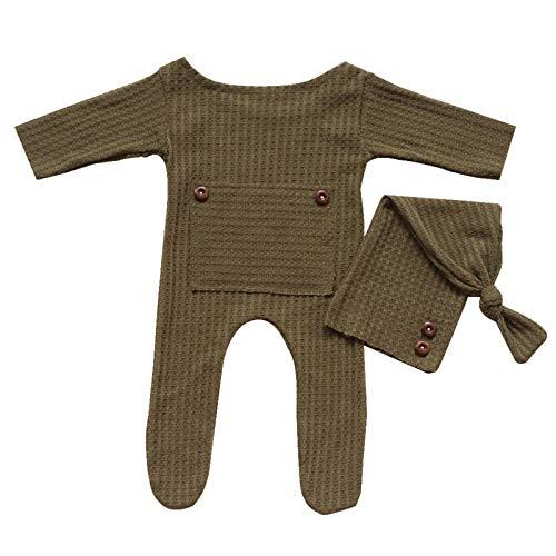Winnfy Accesorios para fotografía de bebé recién nacido, accesorios para sesión de fotos, ropa de ganchillo, sombrero de cola larga, 2 unids sombrero mameluco de monos para bebés de 0 a 1 mes