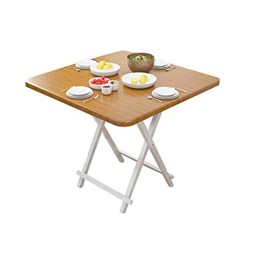 JIAYIBAO Household Kitchen Wooden Square Table 2-4 People Portable Folding Table (Bamboo Color)