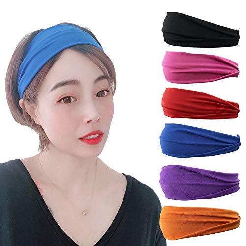 Sethain Deporte Venda Yoga Diademas Envoltura de cabeza elástica Bandeau Athletic Banda de pelo deportivo Banda para la cabeza para mujeres y niñas (Paquete de 6)