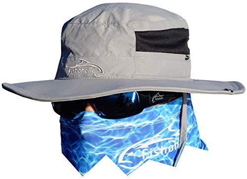 Fishoholic Fishing Boonie/Bucket Hat - UPF50+ Sun Protection Hat - 2 Adj Straps