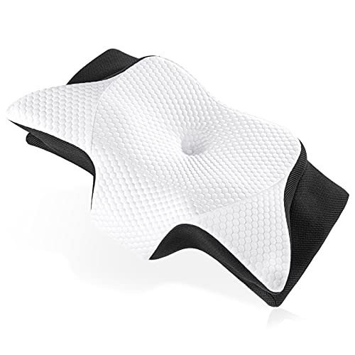 Cervical Pillow, Ansontop Cooling Neck Memory Foam Pillow for Pain Relief Sleeping, Ergonomic Orthopedic Contour Hypoallergenic Bed Pillows for Side, Back, Stomach Sleepers