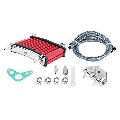 Suuonee Engine Oil Cooler Kit, Aluminum Alloy Motorcycle Engine Oil Cooler Cooling Kit Fit For 125cc 140cc 150cc (Red)