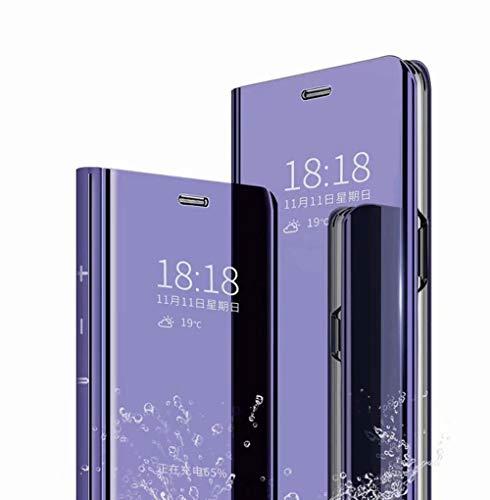 TingYR Funda para Xiaomi Redmi 9AT Carcasa, Espejo Funda Flip Inteligente Mirror Caso, Soporte Plegable, Case Cover Funda para Xiaomi Redmi 9AT.(Morado)
