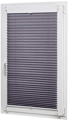 Amazon Basics - Estor enrollable plisado, de tela de poliéster color liso, con sistema de clips, 100 x 130 cm, Gris