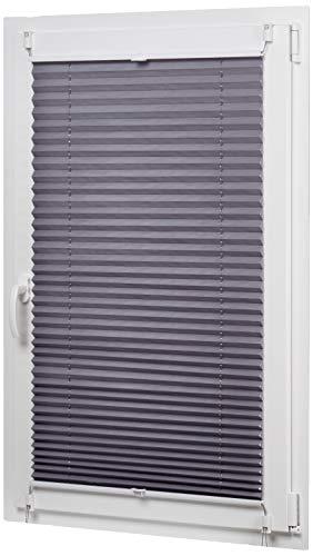 AmazonBasics - Estor enrollable plisado, de tela de poliéster color liso, con sistema de clips, 100 x 130 cm, Gris
