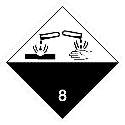 Gefahrgutschild aus Aluminium - Ätzende Stoffe Klasse 8 - 30 x 30 cm