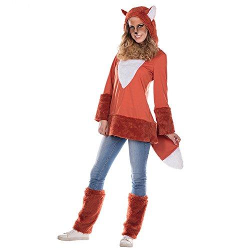 Fuchskostüm für Damen Kleid Stulpen Tierkostüm Fuchs Fasching Kapuzenkleid (48)