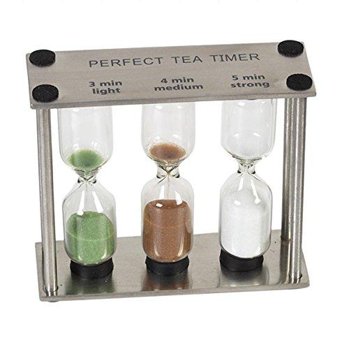 Tea-Timer / Tee-Sanduhr mit 3 Zeitanzeigen / 3 Farben (Edelstahl / Glas)