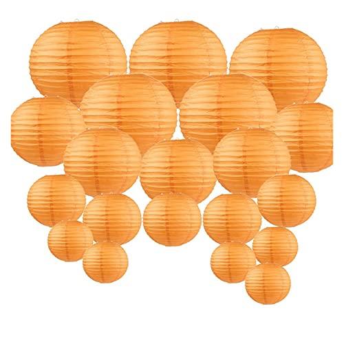 CAIFEIYU 20 PCS 6'-12' Linterna de Papel Naranja Bricolaje Lampión Colgante de Halloween Lámpara de Bola de Papel Japonesa China para la decoración del Partido al Aire Libre