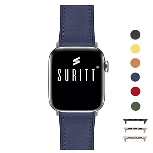 Suritt ® Correa para Apple Watch de Piel Rio (6 Colores Disponibles). 3 Colores de Hebilla y Adaptador para Elegir (Negro - Plata - Oro)(Series 1, 2, 3, 4 y 5). (42mm / 44mm, Midnight Blue/Silver)