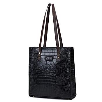 Women Soft PU Leather Tote Bag Retro Classic Crocodile Pattern Handbags Big Capacity Shoulder Bags  BLACK