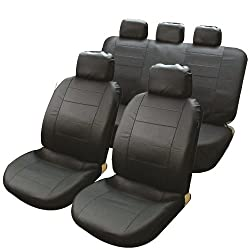 Streetwize Product Streetwize SWSC8 All Black Leather Look Seat Cover Set