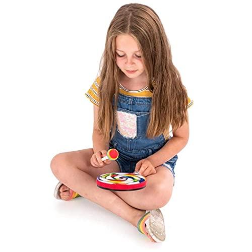 Lollipop Drum, Lolipop Shape Drum Kids Mano Drum con Mallet Musical Sound Juguete Musical Instrumentos Musicales para Niños 15cm