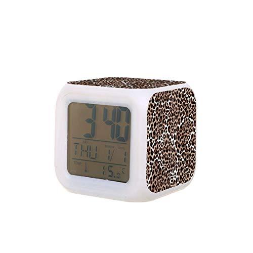 Leopardo o Jaguar patrón sin costuras moderno Animal Vector Led Digital Despertador Calendario Temperatura Colorido Luz de la Noche Dormitorio Reloj de Escritorio Reloj con Batería