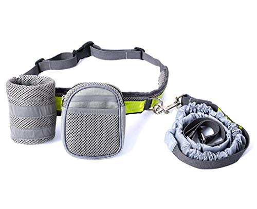 Dessnill Hands-Free Dog Leash Ajustable Dog Walking Belt for Medium and Large Dogs, Retractable Bungee Dog Running Leash with Waist Bag for Walking, Jogging and Training Your Dogs