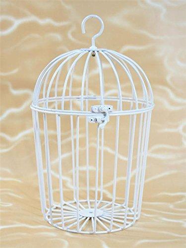 BUSDUGA - Vogelkäfig aus Metall, weiß, 27x19cm ideal für Plüschtiere / Laber-Tiere oder Dekoartikel