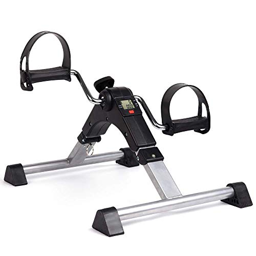 DECELI Under Desk Bike Pedal Exerciser-Folding Portable Exercise Peddler with Electronic Display for Legs and Arms Workout(Black)