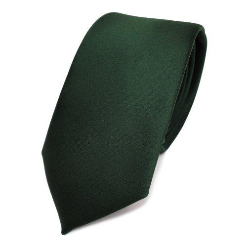 TigerTie schmale Satin Krawatte in grün dunkelgrün tannengrün einfarbig uni