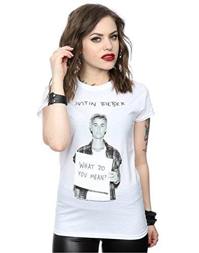 Justin Bieber Damen What Do You Mean T-Shirt Small Weiß