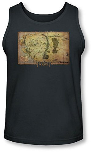 The Hobbit - - La Terre du Milieu Carte Tank-Top pour hommes, Small, Charcoal