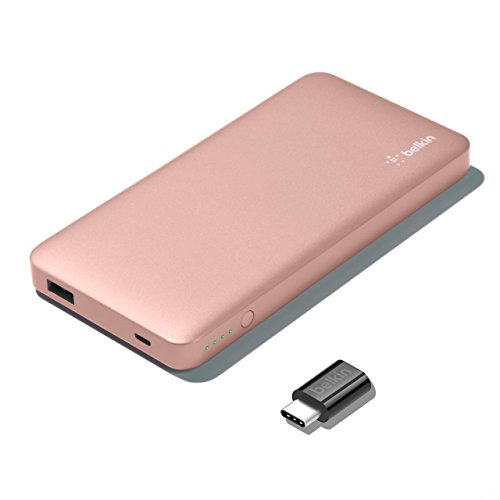 Belkin Pocket Power Bank - Batería Externa de 5000mAh + Adaptador de USB-C a Micro-USB (USB Type C, certificación de Seguridad, para Samsung Galaxy S10, S10+, S10e, S9, S8, Google Pixel) Rossa Oro