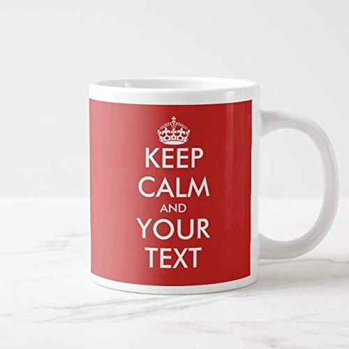 Taza de cerámica gigante con texto en inglés Keep Calm grande, tamaño grande, tamaño grande, 325 ml, incluye caja de regalo
