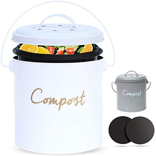 Save %5 Now! ÉLEVER Compost BIN – Farmhouse Kitchen Compost Bin for Kitchen Counter Bonus Inner Compost Bucket for Kitchen, 2 Fruit Fly Trap Filters. Composter for Zero Waste. Countertop Compost Bin, Compost Pail